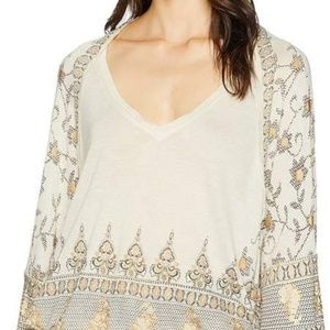 Free People Lilac Medallion Print Top Size M